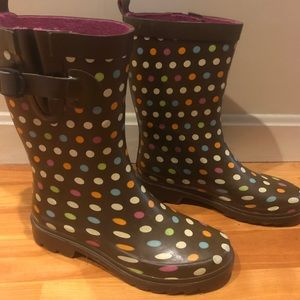 Capelli rain boots Brown with colorful polka dots